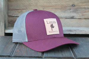 Square Patch Trucker Hat-hat-Limits Waterfowl Co.-Burgundy/Charcoal-Limits Waterfowl Co.