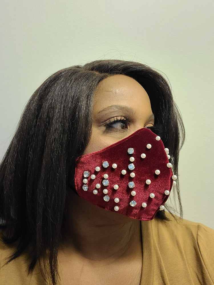 Faux Velvet Peal and Rhinestone Mask
