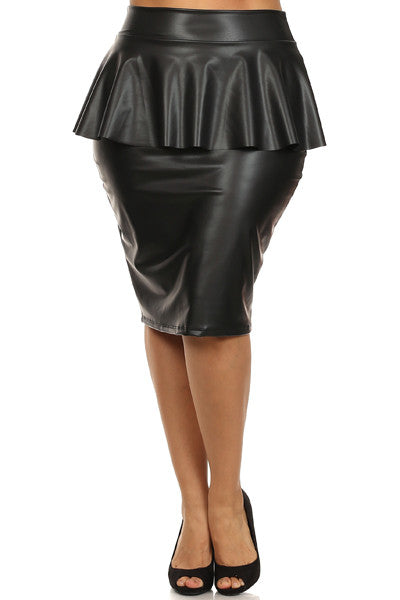 Vinyl high waist midi skirt with Peplum