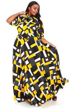 Patch Abstract Maxi Dress