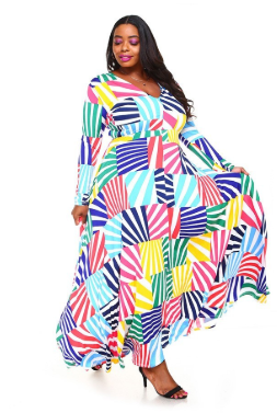 Multi-Colored Abstract Maxi Dress