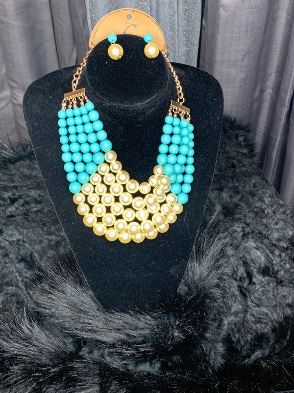 Tiff and pearl necklace and earrings set
