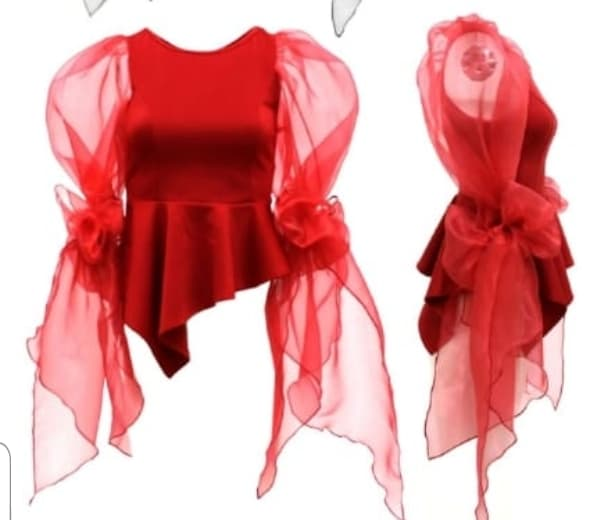 Puffy Bow Sleeve Peplum Top
