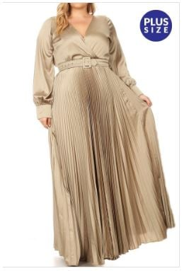 Belted Pleated Maxi Dress
