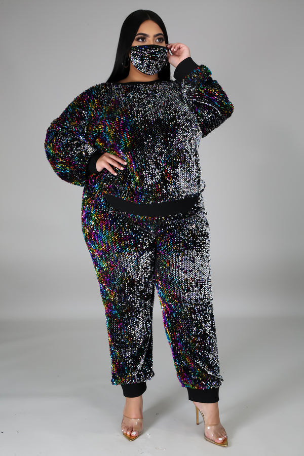 Sequin Track Suit with Mask
