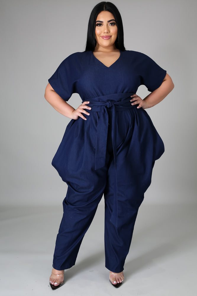 Stretch Denim Belted Jumpsuit