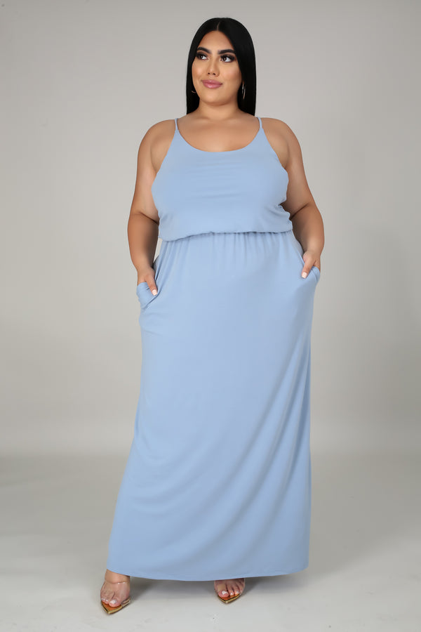 Adjustable Strap Two Layer Maxi Dress