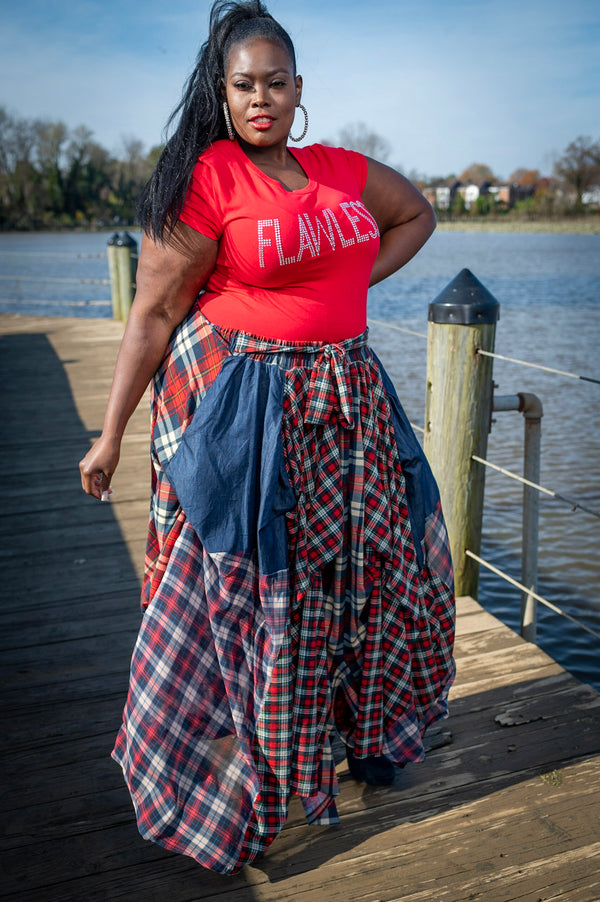 Denim and Red Plaid Skirt