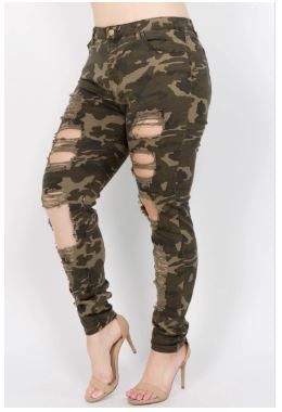 Ronda Camo Destroyed Skinny Jeans