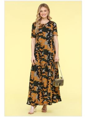Short Sleeve Camo Maxi Dress