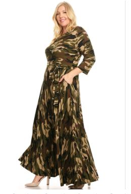 Camo Scoop Neck Maxi