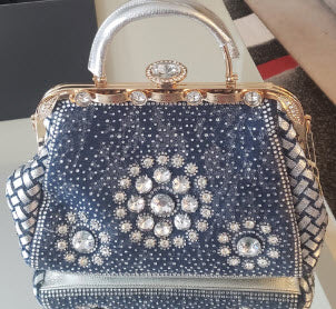 Dark Denim Rhinestone Handbag