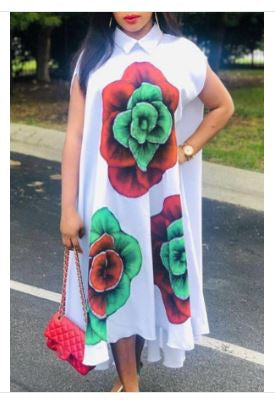 Flower Shirt Swing Dress