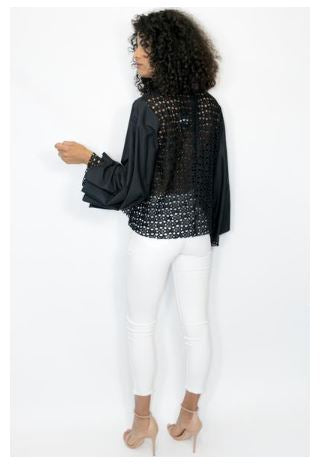 Long Sleeve Net Fancy Top