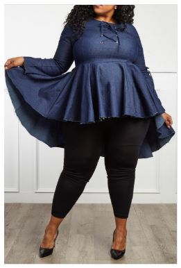 Tonia Denim Peplum Top