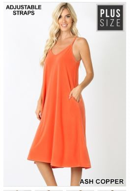 Spaghetti Strap Cami Knee Length Dress