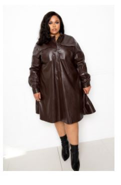 Chocolate Leather Like Shirt Dress