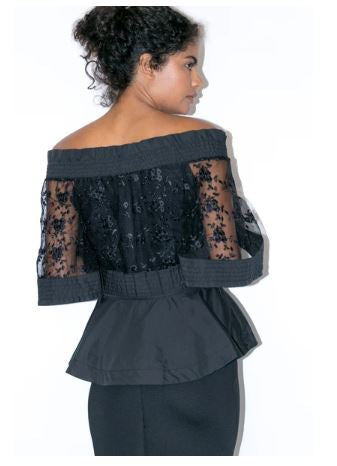 Off Shoulder Lace/Cotton Blouse