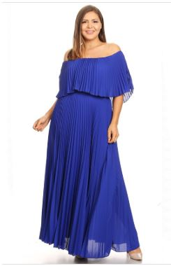 Pleated Off Shoulder Maxi Dress