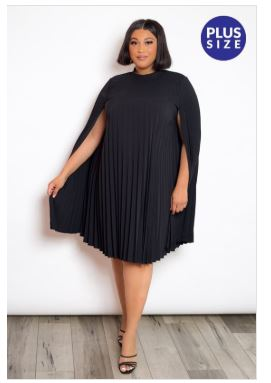 Pleated Cape Dress