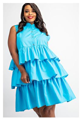 Stretch Poplin Tiered Shirt Dress