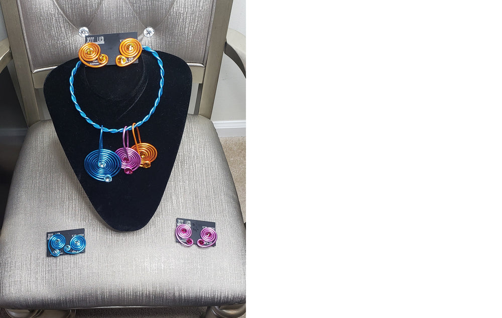 Tricolored Jeff Lieb Necklace and Earring Set