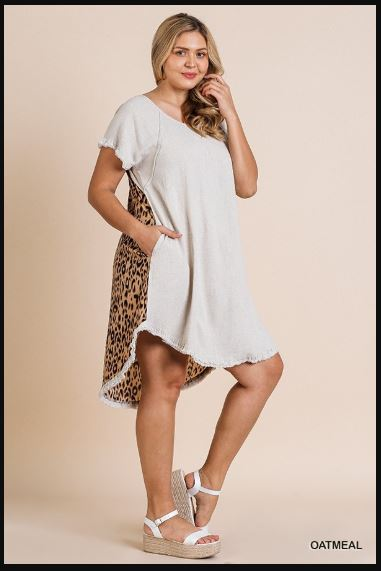 Short Sleeve Animal Print Back Dress