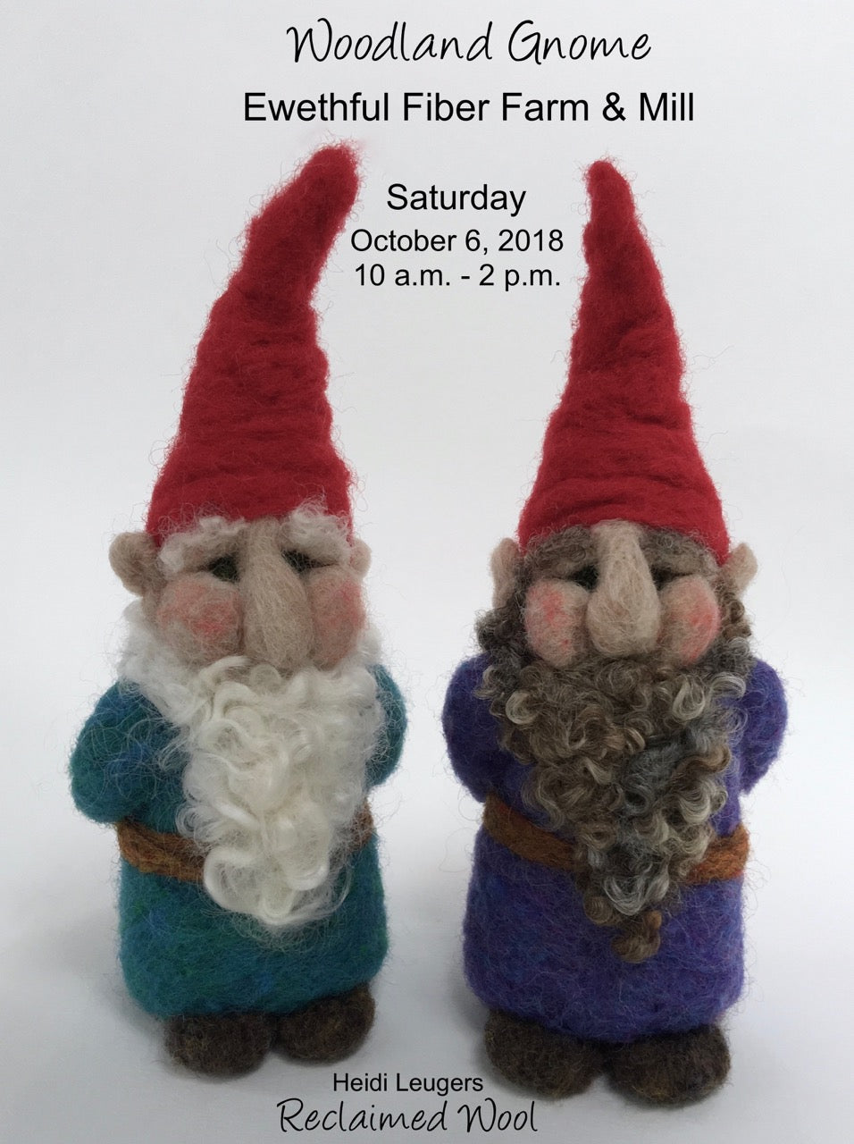 Beginning Felting: Learn to Felt a Woodland Gnome Saturday October 6th, 10am-2pm