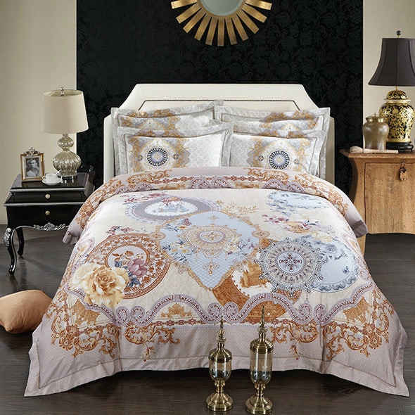600 THREAD COUNT 100% EGYPTIAN COTTON PRINTED QUILT COVER SET WITH PILLOW CASES AND FLAT SHEET - Next Linen