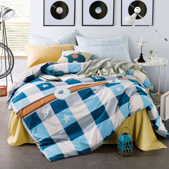 400 THREAD COUNT 100% COTTON PRINTED QUILT COVER SET WITH PILLOW CASES AND FLAT SHEET - Next Linen