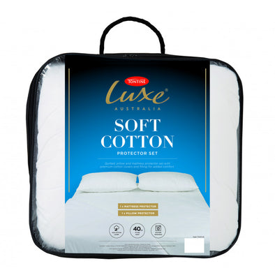 TONTINE LUXE SOFT COTTON MATTRESS & PILLOW PROTECTOR SET