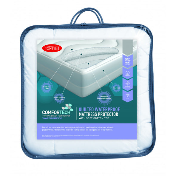 TONTINE COMFORTECH WATERPROOF QUILTED FITTED MATTRESS PROTECTOR - Next Linen