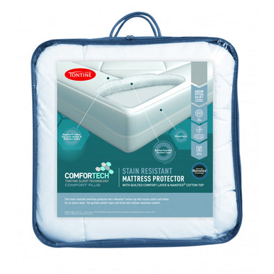 TONTINE COMFORTECH STAIN RESISTANT FITTED MATTRESS PROTECTOR