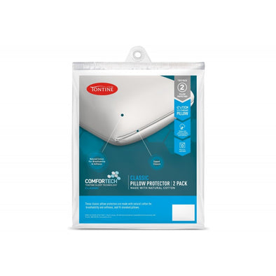 TONTINE COMFORTECH COTTON CLASSIC PILLOW PROTECTOR X 2