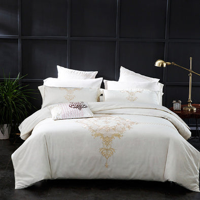 400 THREAD COUNT 100% COTTON EMBROIDED QUILT COVER SET WITH PILLOW CASES AND FLAT SHEET - Next Linen