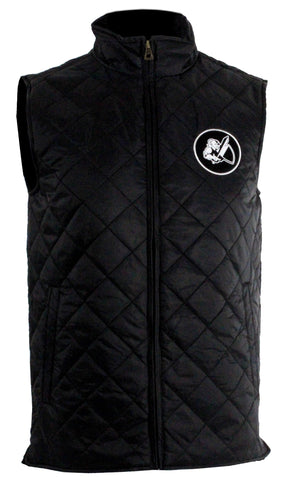 QUILTED WEATHERPROOF VINTAGE VEST WITH KNIGHT PATCH