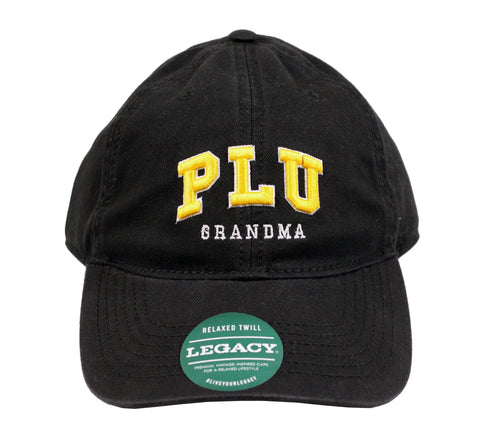 BLACK HAT WITH GOLD PLU LETTERING WITH GRANDMA
