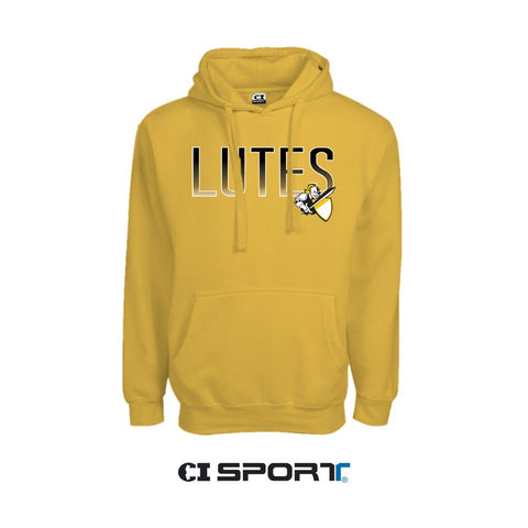 MIDWEIGHT PULLOVER HOODIE - MUSTARD - LUTES W/ KNIGHT LOGO