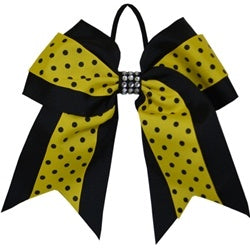 RALLY BLACK AND GOLD POLKA DOT HAIR BOW