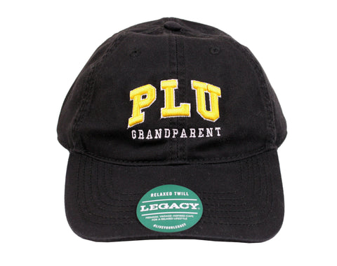 BLACK HAT WITH GOLD PLU LETTERING WITH GRANDPARENT