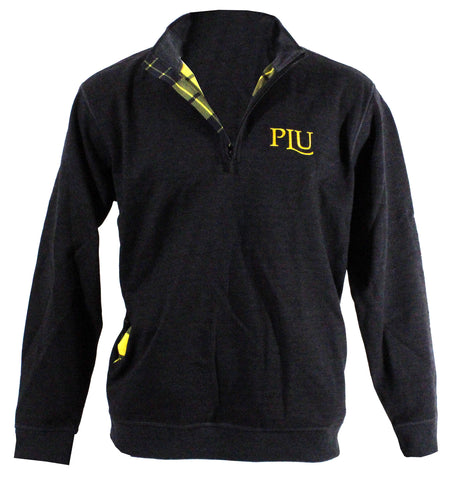 HEATHER GRAY 1/4 ZIP BLACK AND GOLD PLAID LINED  WITH PLU