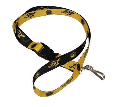 BLACK & GOLD LANYARD WITH ROSE WINDOW AND LUTES