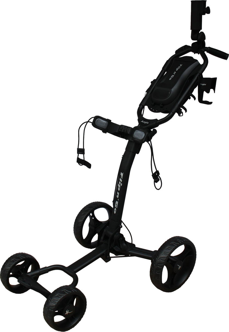 Axglo Flip & Go Four Wheel Trolley - Including a beverage & umbrella holder Black