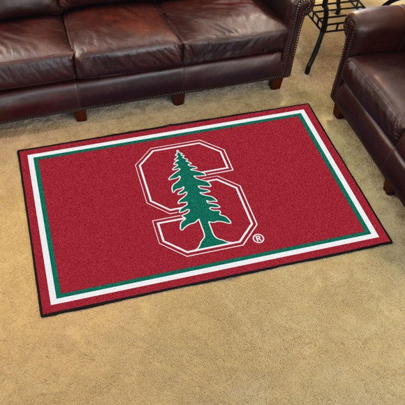Stanford University Plush Rug - Color Logo  College Area Rug - Fan Rugs