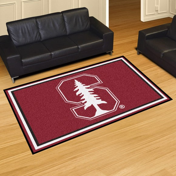 Stanford University Plush Rug - White Logo  College Area Rug - Fan Rugs