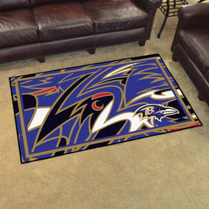 Baltimore Ravens X-Fit 4x6 Plush Rug  NFL Area Rug - Fan Rugs