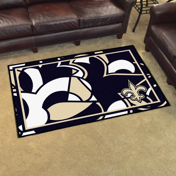New Orleans Saints X-Fit 4x6 Plush Rug  NFL Area Rug - Fan Rugs