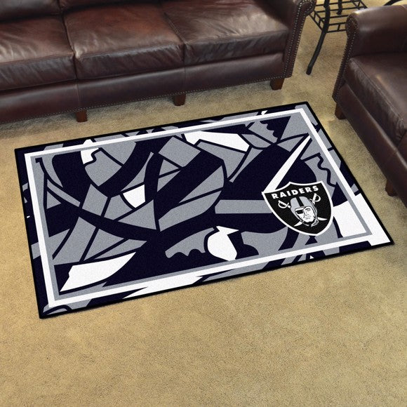 Las Vegas Raiders X-Fit 4x6 Plush Rug  NFL Area Rug - Fan Rugs