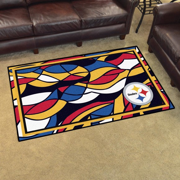 Pittsburgh Steelers X-Fit 4x6 Plush Rug  NFL Area Rug - Fan Rugs