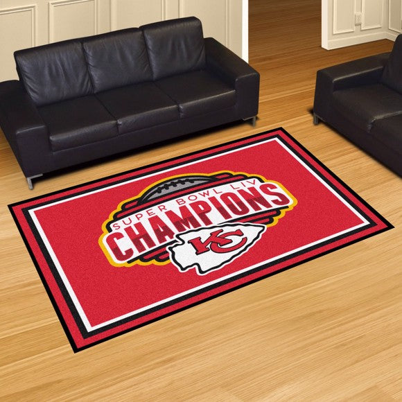 Kansas City Chiefs Super Bowl LIV Champions 5x8 Plush Rug  NFL Area Rug - Fan Rugs